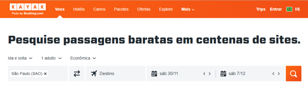 Screenshot do site Kayak