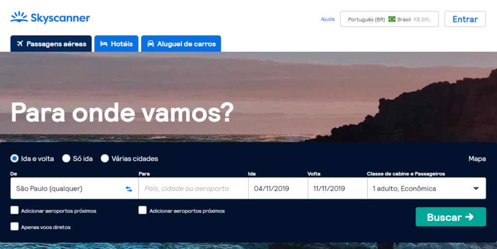 Screenshot do site Skyscanner