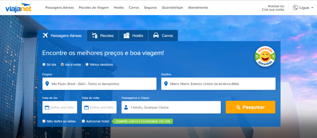 Screenshot do site Viajanet